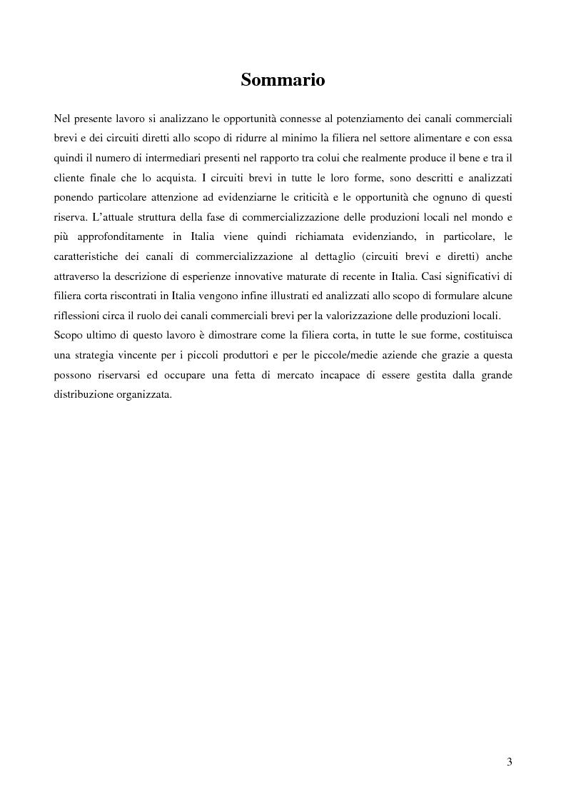 Anteprima della tesi: La filiera corta nel settore alimentare: tipologie e casi applicativi di studio, Pagina 1