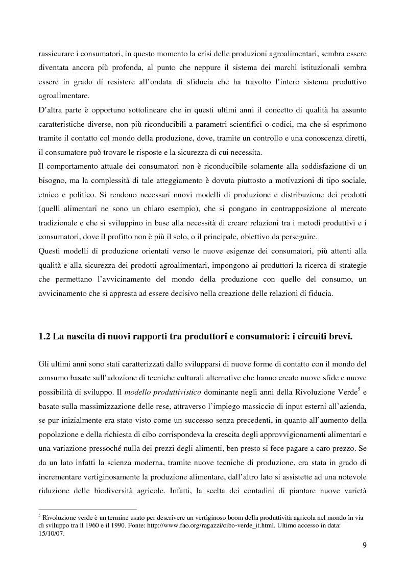 Anteprima della tesi: La filiera corta nel settore alimentare: tipologie e casi applicativi di studio, Pagina 7