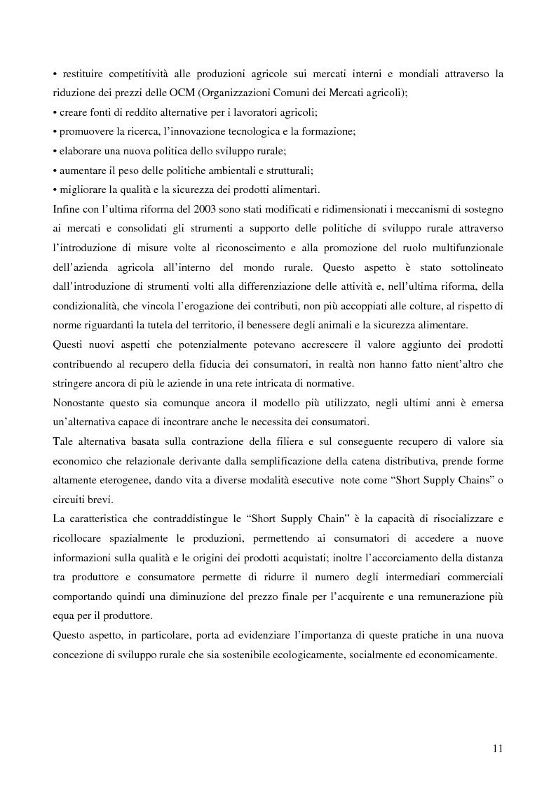 Anteprima della tesi: La filiera corta nel settore alimentare: tipologie e casi applicativi di studio, Pagina 9