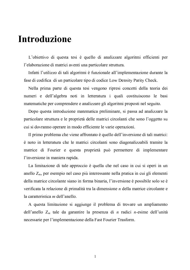 Anteprima della tesi: Elaborazione efficiente di matrici strutturate per codici correttori d'errore, Pagina 1
