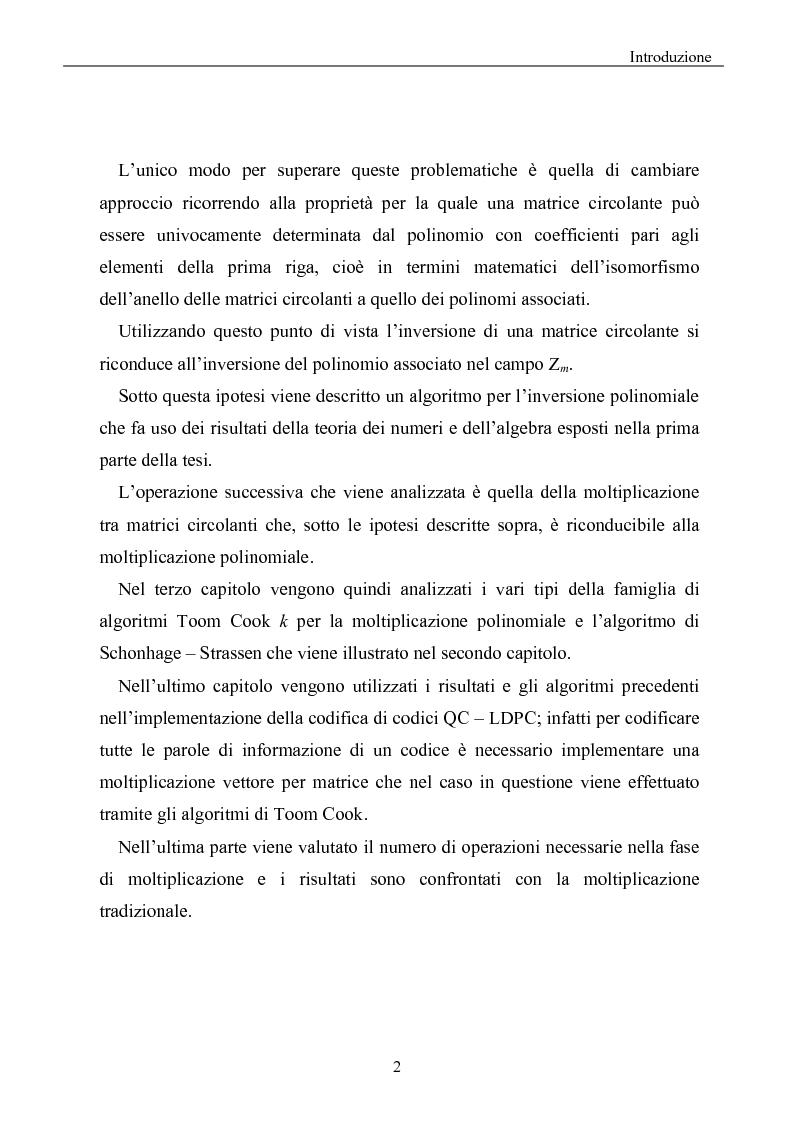 Anteprima della tesi: Elaborazione efficiente di matrici strutturate per codici correttori d'errore, Pagina 2