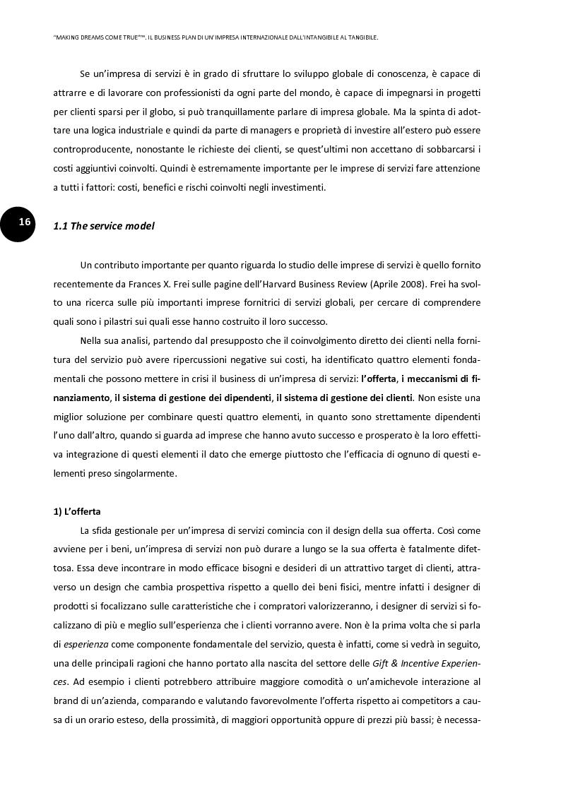 Anteprima della tesi: ''Making dreams come true''. Il business plan di un'impresa internazionale dall'intangibile al tangibile, Pagina 12