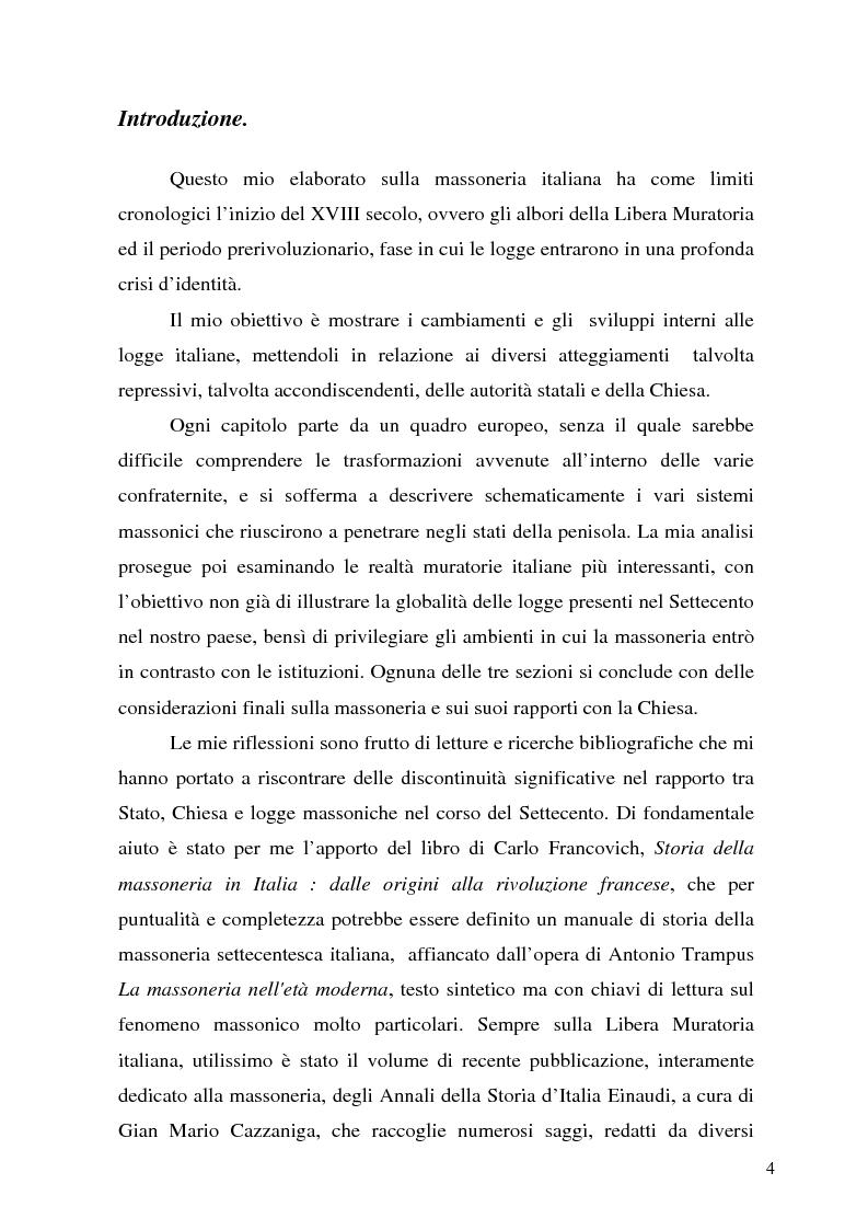 Anteprima della tesi: La massoneria tra Stati e Chiesa nell'Italia dei Lumi, Pagina 1