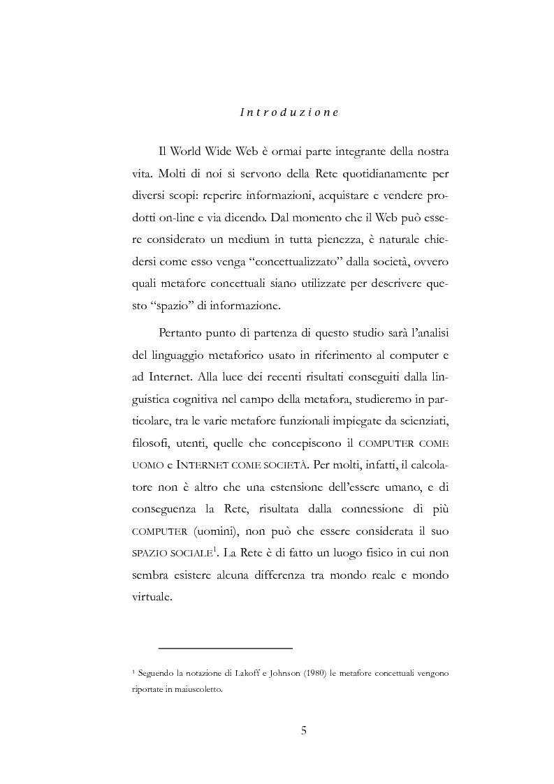 Anteprima della tesi: Metafore del mondo informatico: il computer è un uomo e Internet è la sua società, Pagina 1