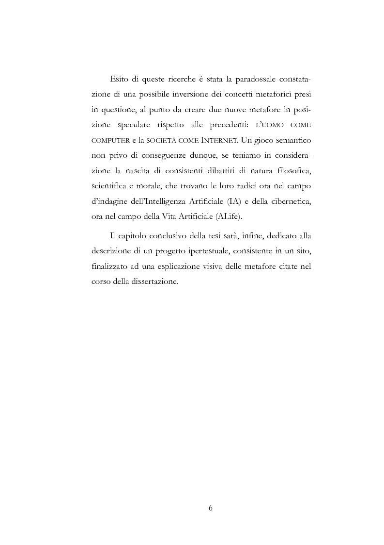 Anteprima della tesi: Metafore del mondo informatico: il computer è un uomo e Internet è la sua società, Pagina 2