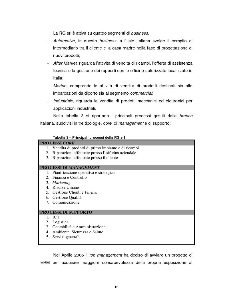Anteprima della tesi: Enterprise risk management: applicazione del framework CoSO ad una realtà commerciale italiana, Pagina 7