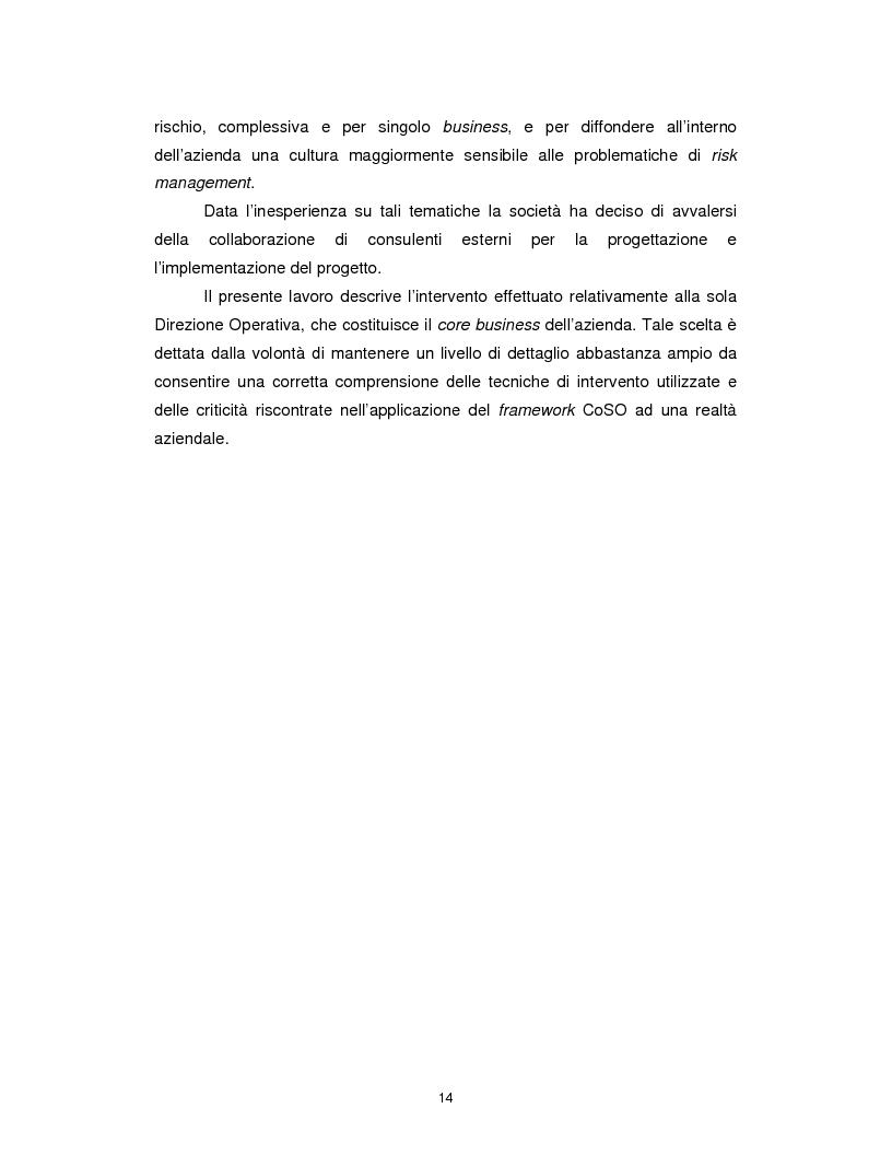Anteprima della tesi: Enterprise risk management: applicazione del framework CoSO ad una realtà commerciale italiana, Pagina 8