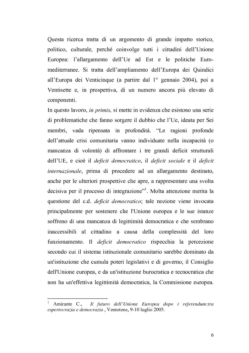 Anteprima della tesi: L'Ue tra allargamento e politiche euromediterranee, Pagina 2