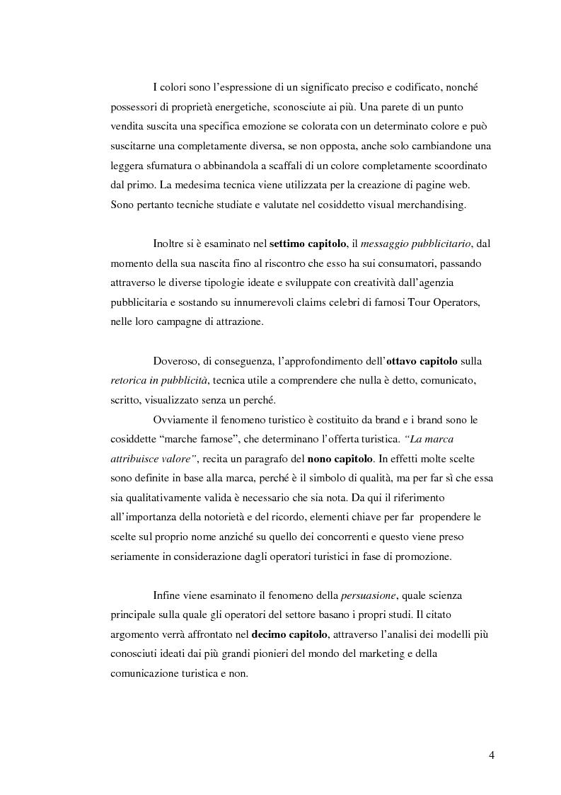 Anteprima della tesi: La comunicazione nel turismo: promozione e pubblicità degli operatori turistici, Pagina 4