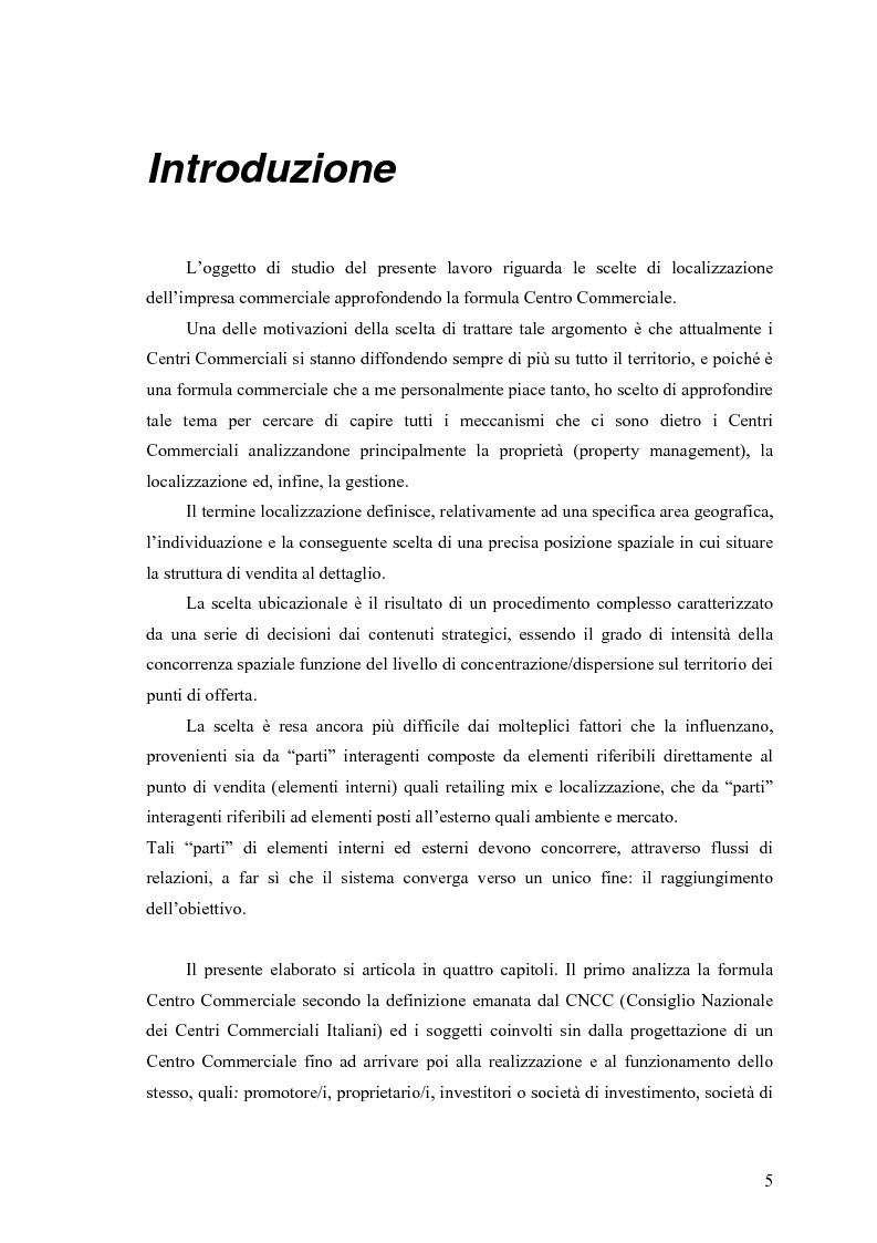 Anteprima della tesi: Le scelte di localizzazione dell'impresa commerciale: il caso del Centro Commerciale Mongolfiera di Molfetta (BA), Pagina 1