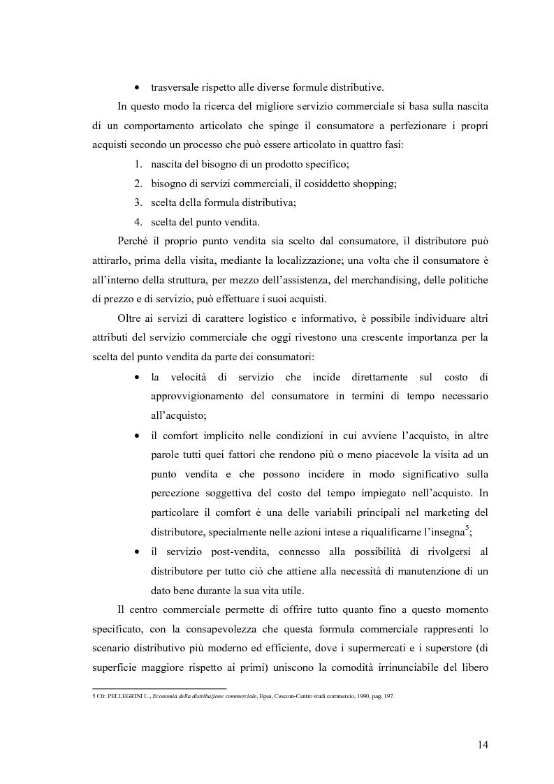 Anteprima della tesi: Le scelte di localizzazione dell'impresa commerciale: il caso del Centro Commerciale Mongolfiera di Molfetta (BA), Pagina 10