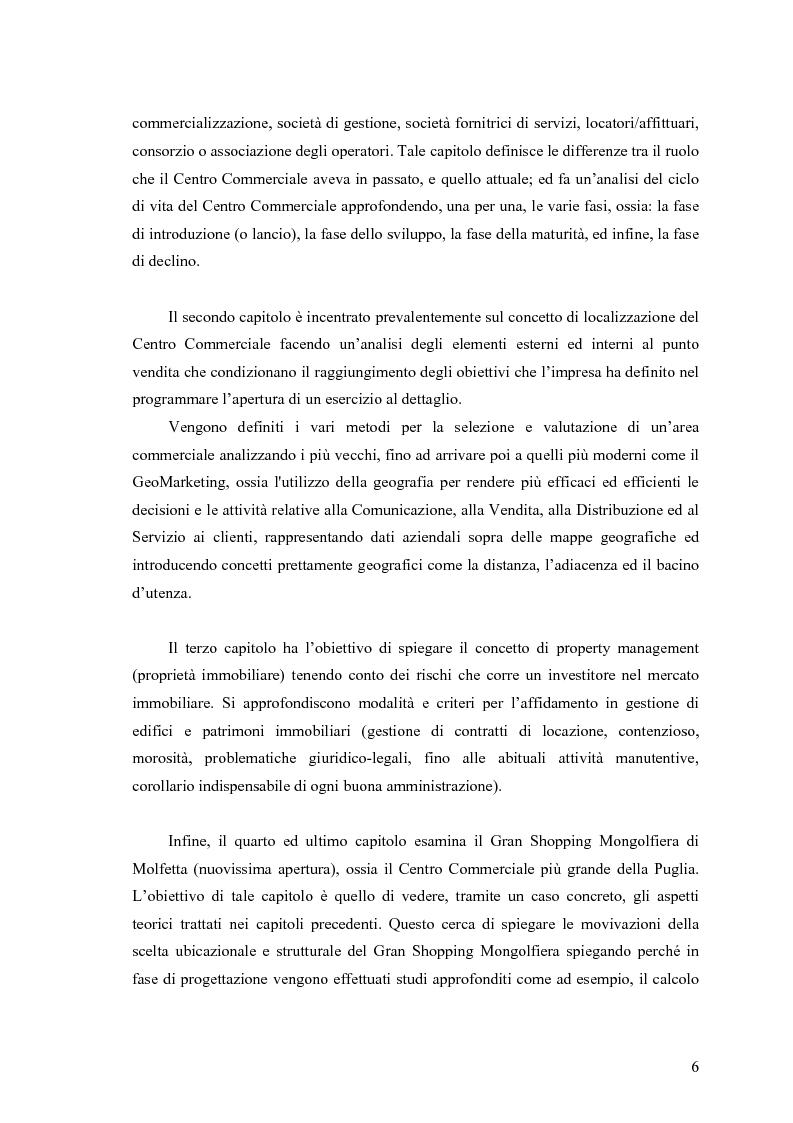 Anteprima della tesi: Le scelte di localizzazione dell'impresa commerciale: il caso del Centro Commerciale Mongolfiera di Molfetta (BA), Pagina 2