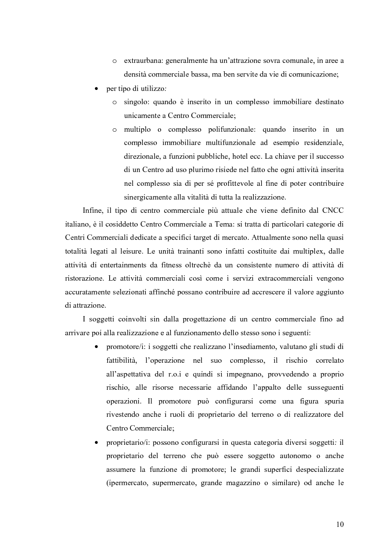 Anteprima della tesi: Le scelte di localizzazione dell'impresa commerciale: il caso del Centro Commerciale Mongolfiera di Molfetta (BA), Pagina 6