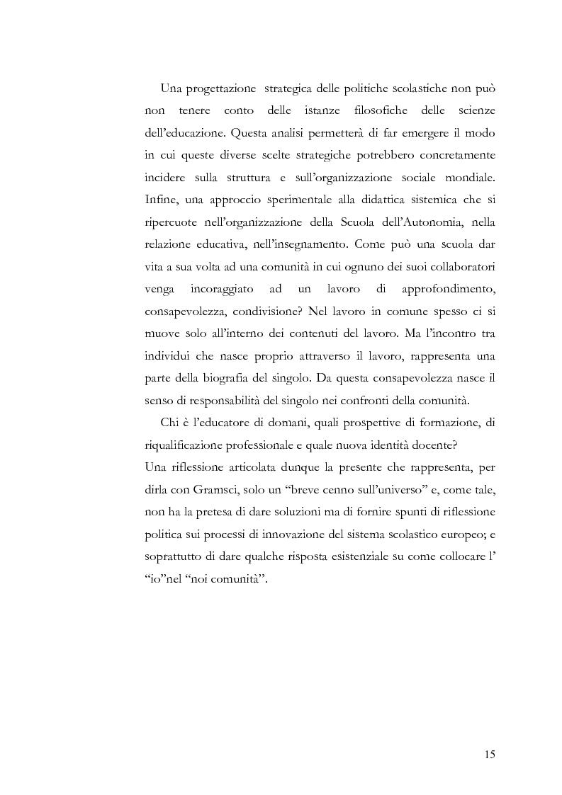 Anteprima della tesi: Individuo e comunità tra soggettività e complessità - Pedagogia sistemica e nuove frontiere delle politiche scolastiche europee, Pagina 10