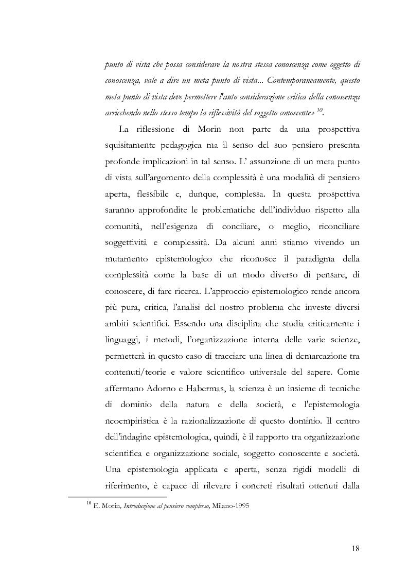 Anteprima della tesi: Individuo e comunità tra soggettività e complessità - Pedagogia sistemica e nuove frontiere delle politiche scolastiche europee, Pagina 13