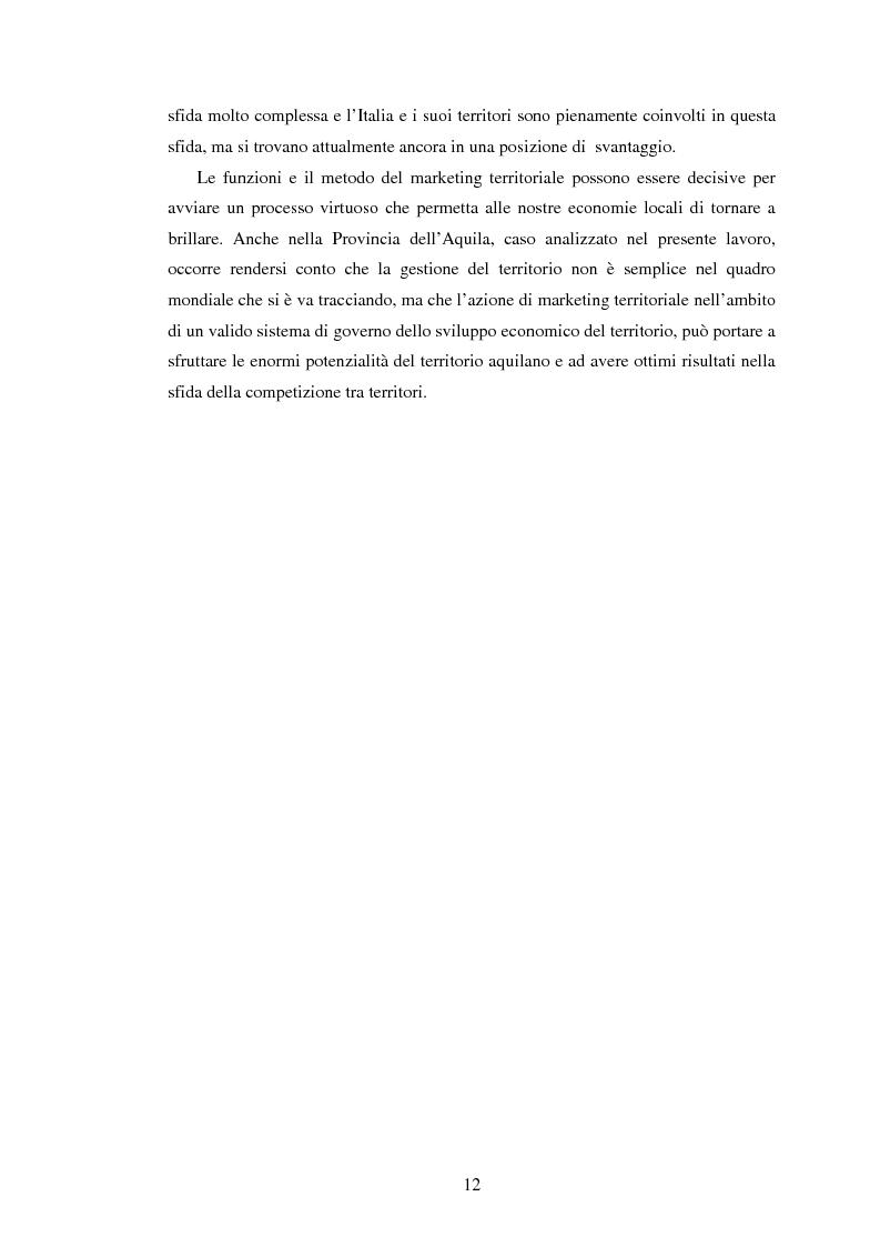 Anteprima della tesi: Marketing territoriale e sviluppo locale: la competitività della provincia dell'Aquila, Pagina 3