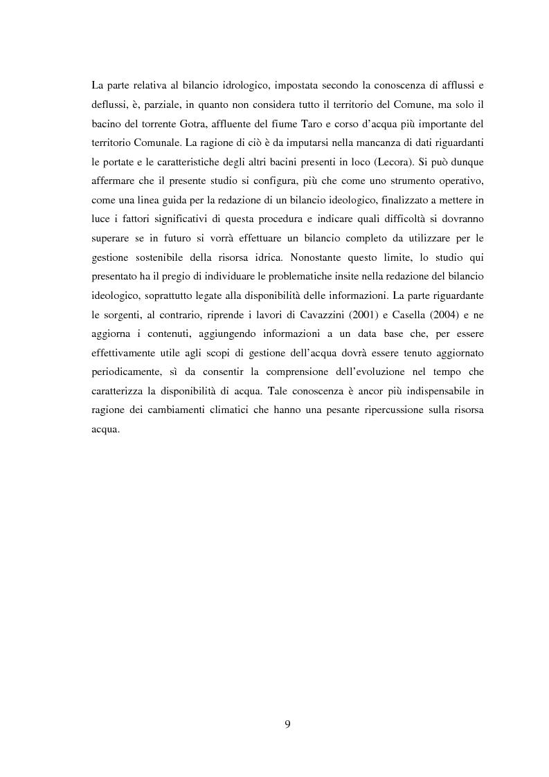 Anteprima della tesi: Bilancio della disponibilità di risorsa idrica nel comune di Albareto (PR), Pagina 4