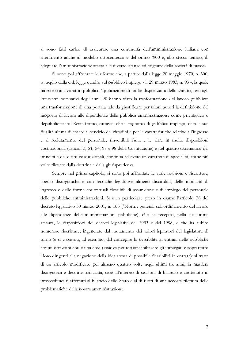 Anteprima della tesi: La nuova disciplina in materia di rapporto di lavoro a tempo determinato nelle pubbliche amministrazioni, Pagina 2