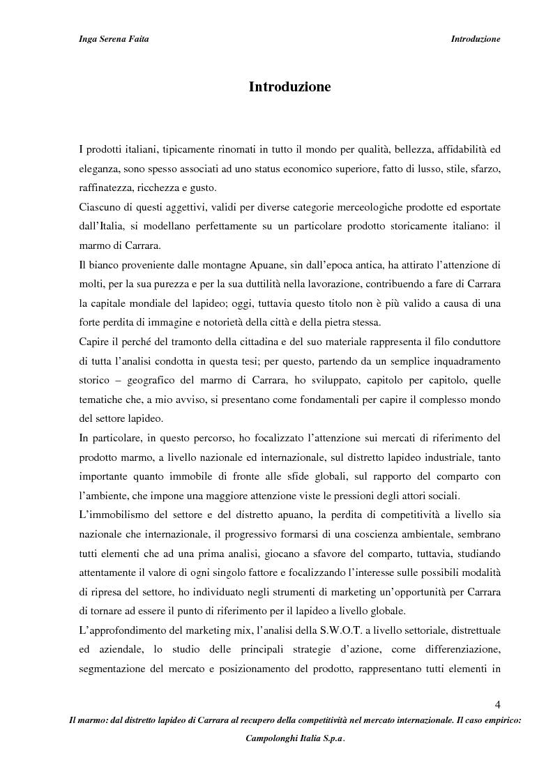Anteprima della tesi: Il marmo: dal distretto lapideo di Carrara al recupero della competitività nel mercato internazionale. Il caso empirico: Campolonghi Italia S.p.a., Pagina 1
