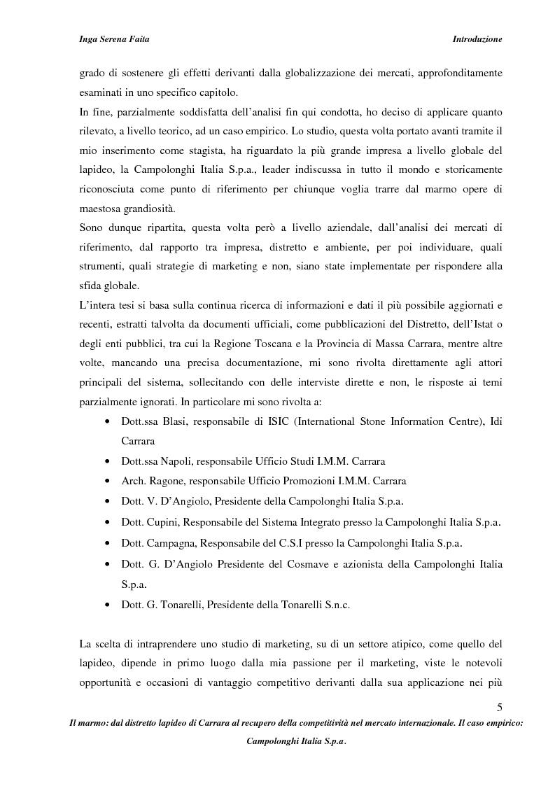 Anteprima della tesi: Il marmo: dal distretto lapideo di Carrara al recupero della competitività nel mercato internazionale. Il caso empirico: Campolonghi Italia S.p.a., Pagina 2