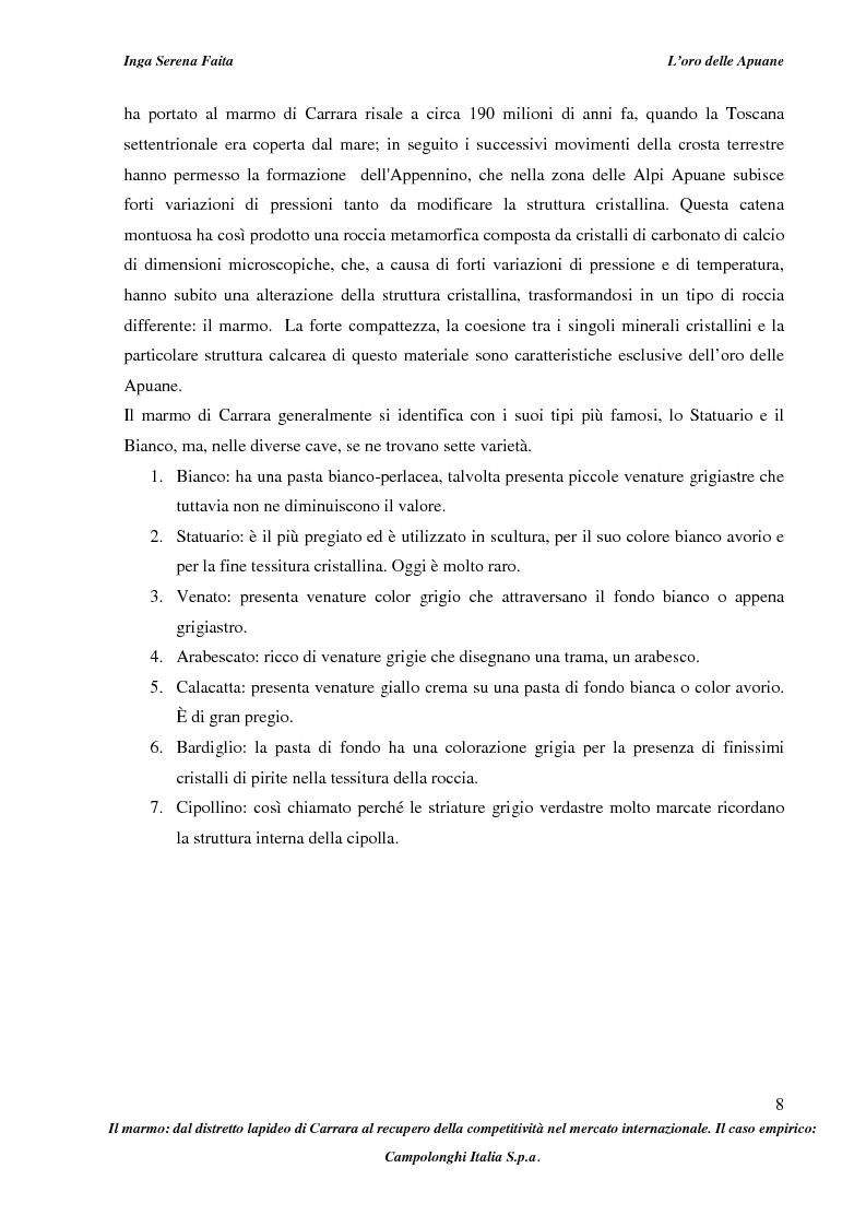 Anteprima della tesi: Il marmo: dal distretto lapideo di Carrara al recupero della competitività nel mercato internazionale. Il caso empirico: Campolonghi Italia S.p.a., Pagina 5