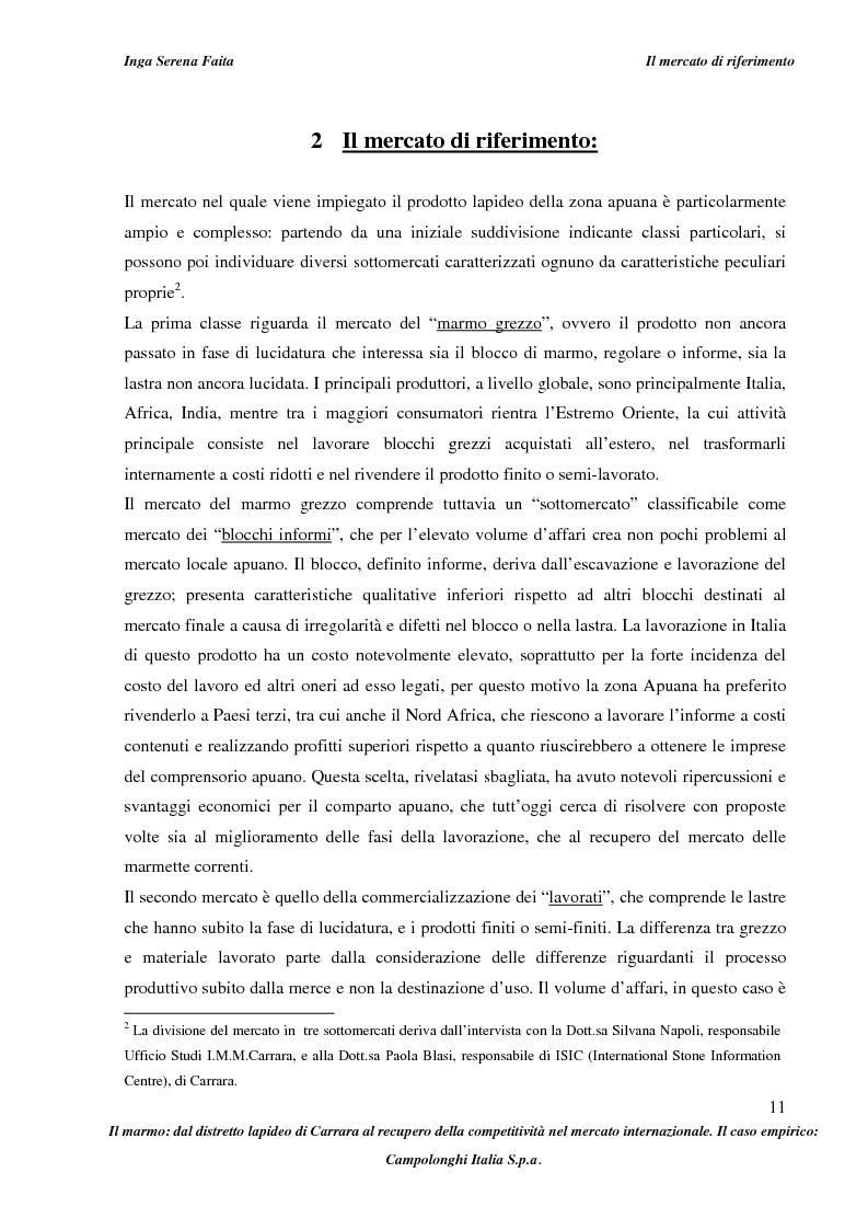 Anteprima della tesi: Il marmo: dal distretto lapideo di Carrara al recupero della competitività nel mercato internazionale. Il caso empirico: Campolonghi Italia S.p.a., Pagina 8
