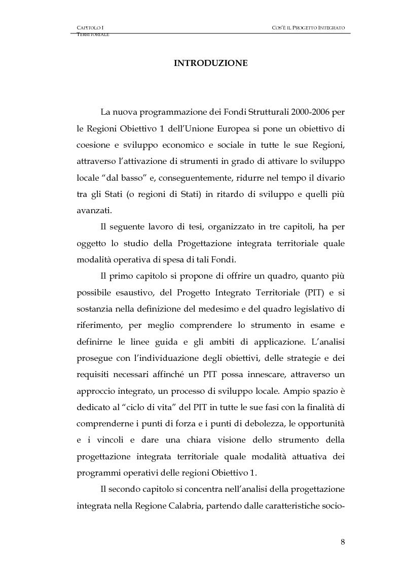 Anteprima della tesi: Progettazione integrata e sviluppo locale: il caso del PIT Locride, Pagina 1