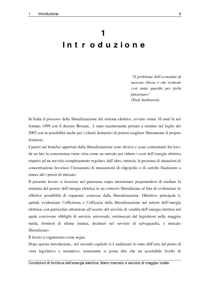 Anteprima della tesi: Liberalizzazione del mercato elettrico: condizioni di fornitura dell'energia elettrica, libero mercato e servizio di maggior tutela, Pagina 1