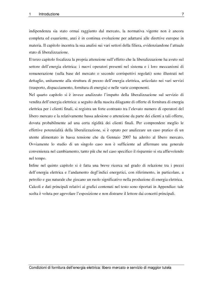 Anteprima della tesi: Liberalizzazione del mercato elettrico: condizioni di fornitura dell'energia elettrica, libero mercato e servizio di maggior tutela, Pagina 2