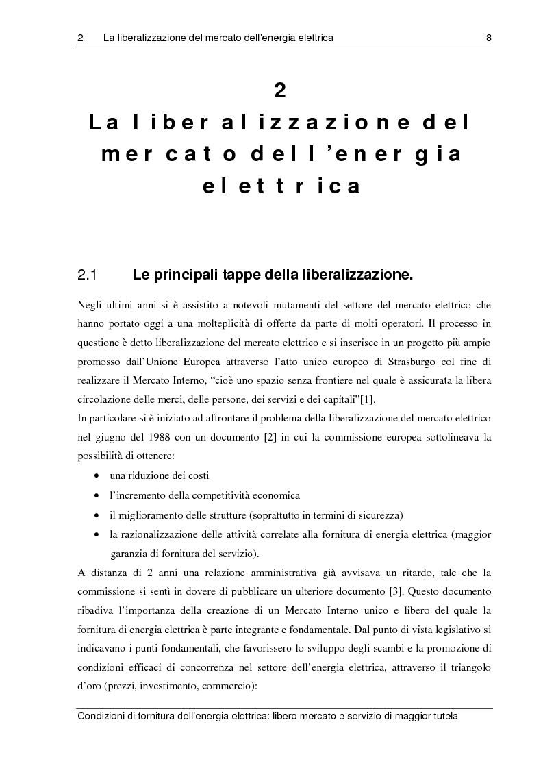 Anteprima della tesi: Liberalizzazione del mercato elettrico: condizioni di fornitura dell'energia elettrica, libero mercato e servizio di maggior tutela, Pagina 3
