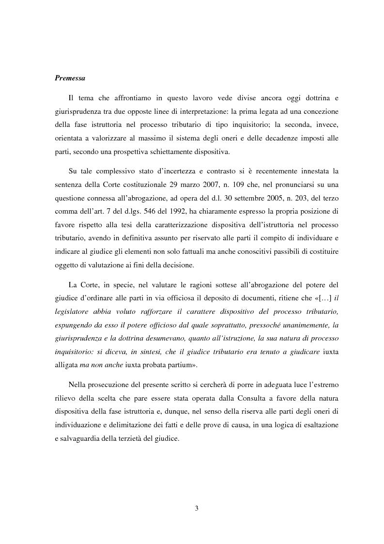 Anteprima della tesi: I poteri istruttori delle commissioni tributarie alla luce della sentenza n. 109 del 29/03/2007 Corte Costituzionale, Pagina 1