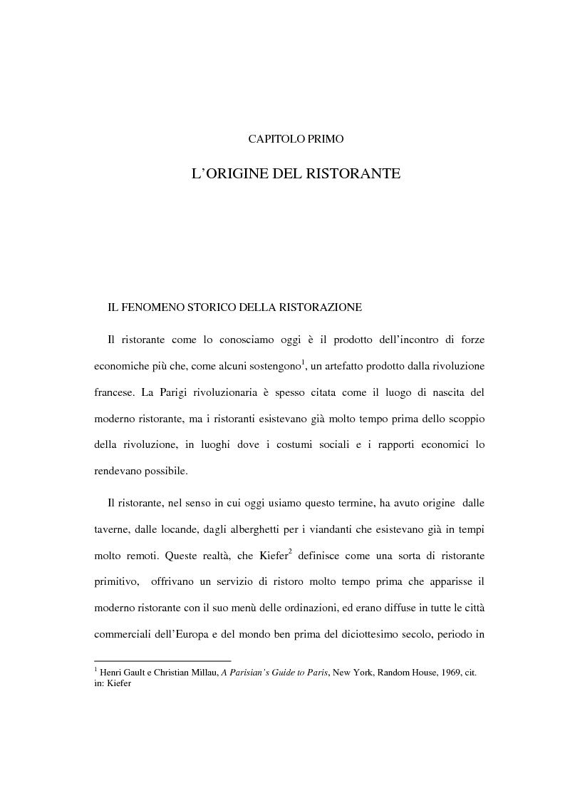 Anteprima della tesi: Il ristorante come sistema organizzativo, Pagina 1