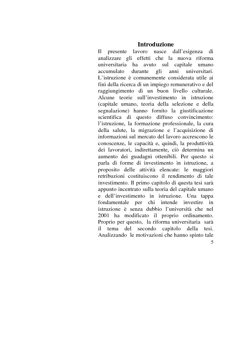 Anteprima della tesi: Capitale umano: nuove opportunità della riforma universitaria, Pagina 1