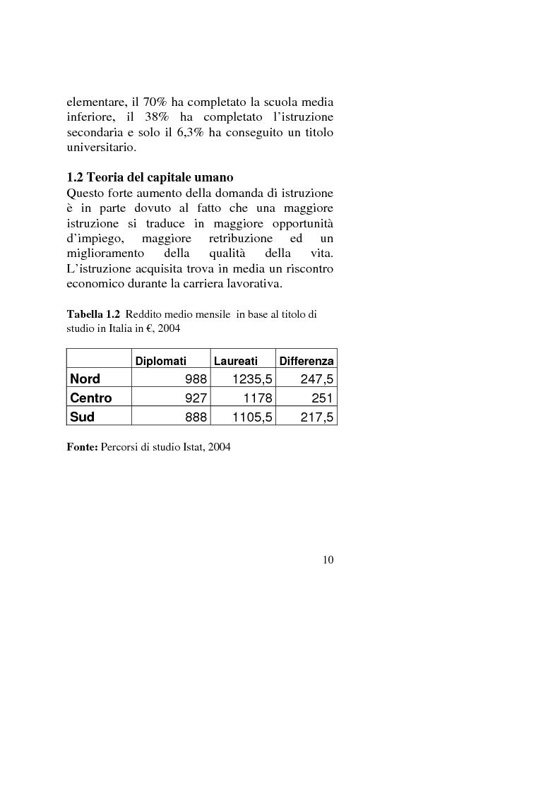 Anteprima della tesi: Capitale umano: nuove opportunità della riforma universitaria, Pagina 6