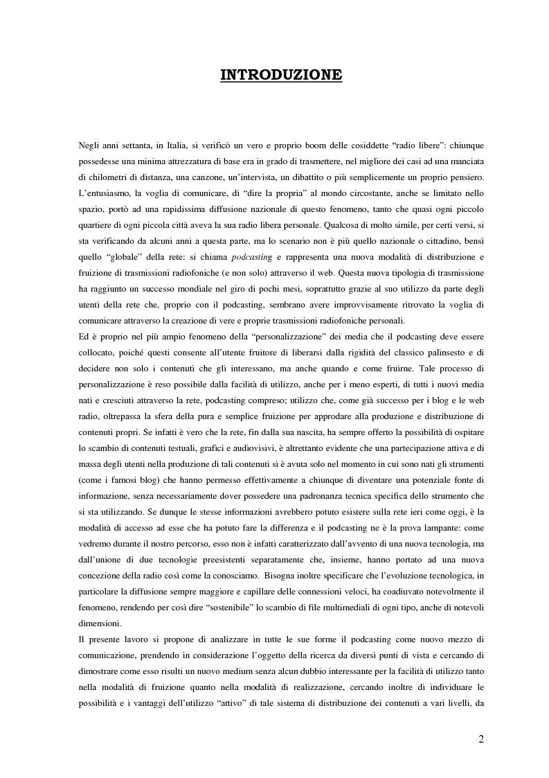 Anteprima della tesi: Nuovi media per la comunicazione: un'analisi del podcasting, Pagina 1