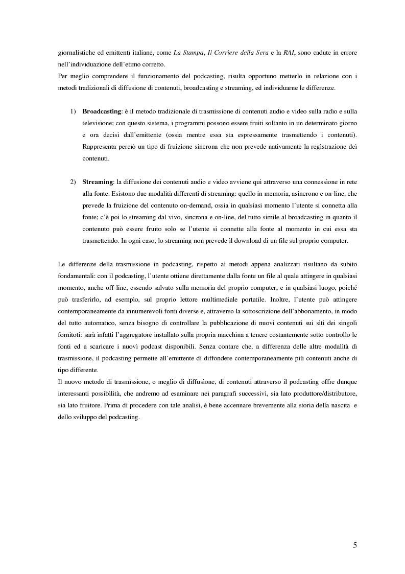 Anteprima della tesi: Nuovi media per la comunicazione: un'analisi del podcasting, Pagina 4