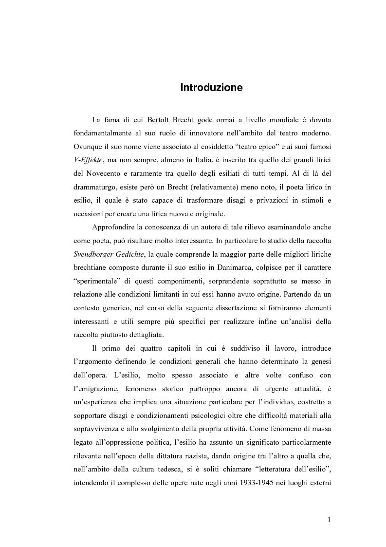 Anteprima della tesi: ''Alle grossen Gedichte haben den Wert von Dokumenten''. Le Svendborger Gedichte di Bertolt Brecht., Pagina 1