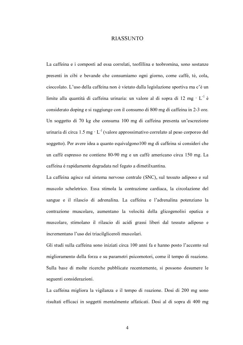 Anteprima della tesi: La caffeina: il doping illusorio? Effetti ergogenici della caffeina nelle performance degli sport olimpici, Pagina 2