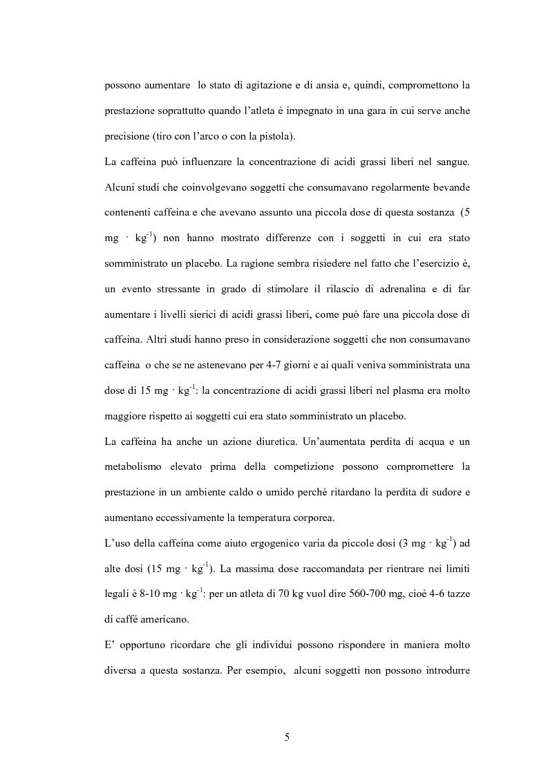 Anteprima della tesi: La caffeina: il doping illusorio? Effetti ergogenici della caffeina nelle performance degli sport olimpici, Pagina 3