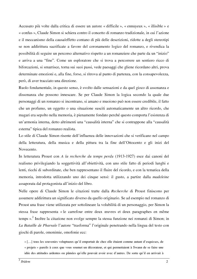 Anteprima della tesi: Le jardin des plantes di Claude Simon: proposta di traduzione di alcuni passi dell'opera, Pagina 2