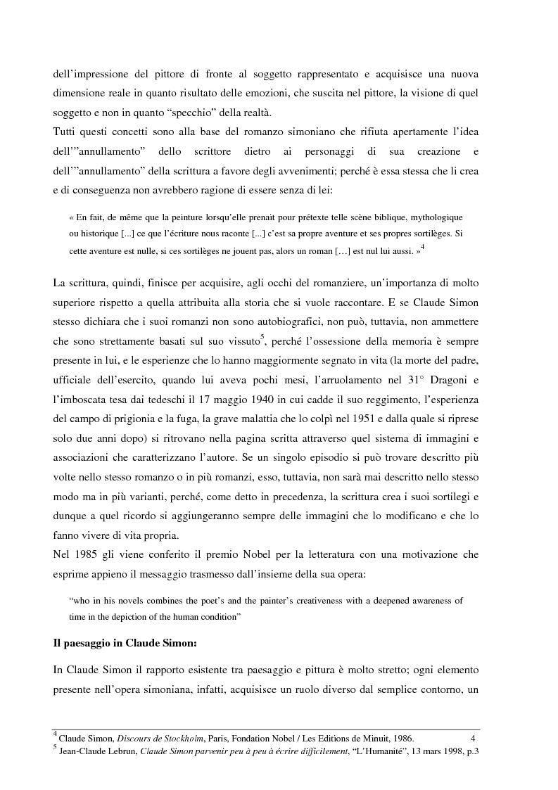 Anteprima della tesi: Le jardin des plantes di Claude Simon: proposta di traduzione di alcuni passi dell'opera, Pagina 4