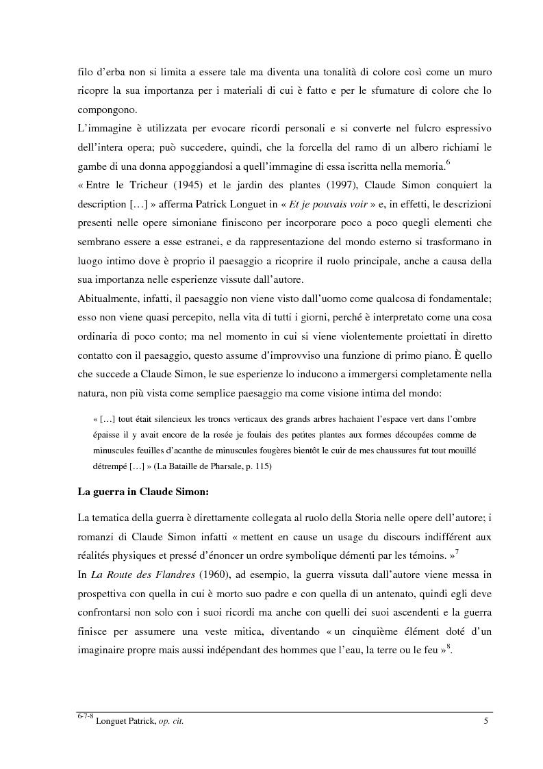 Anteprima della tesi: Le jardin des plantes di Claude Simon: proposta di traduzione di alcuni passi dell'opera, Pagina 5