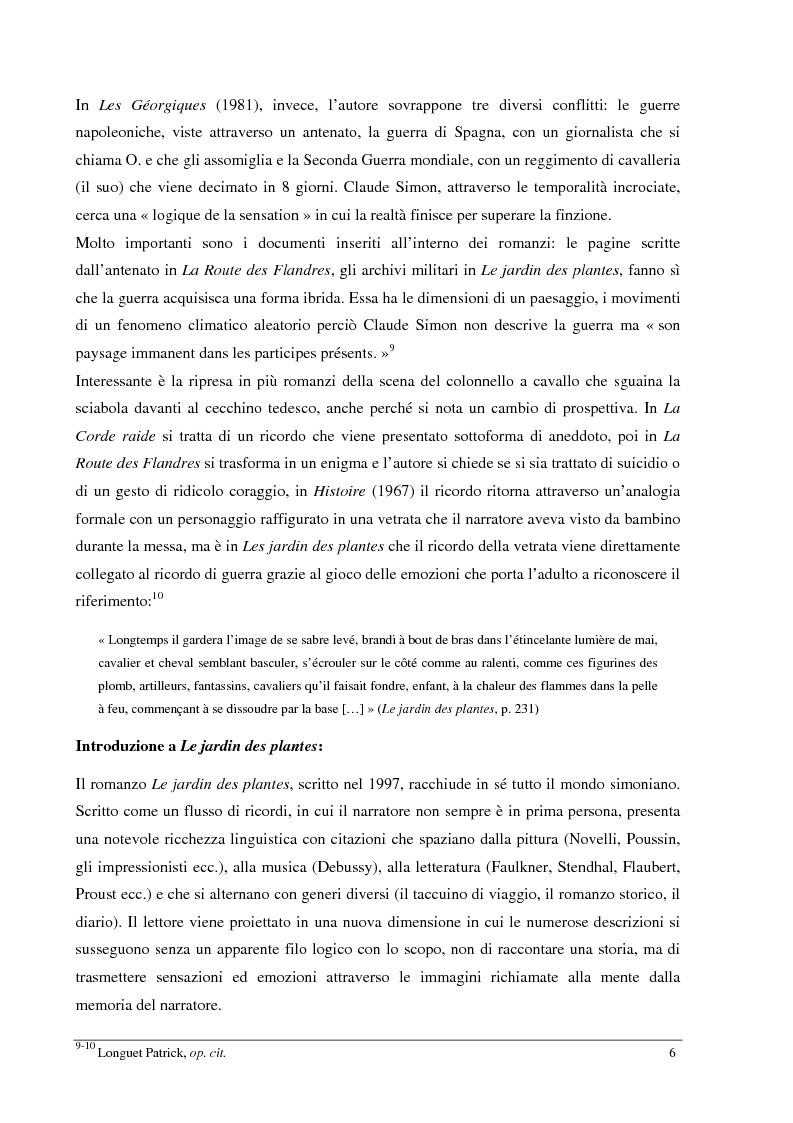 Anteprima della tesi: Le jardin des plantes di Claude Simon: proposta di traduzione di alcuni passi dell'opera, Pagina 6