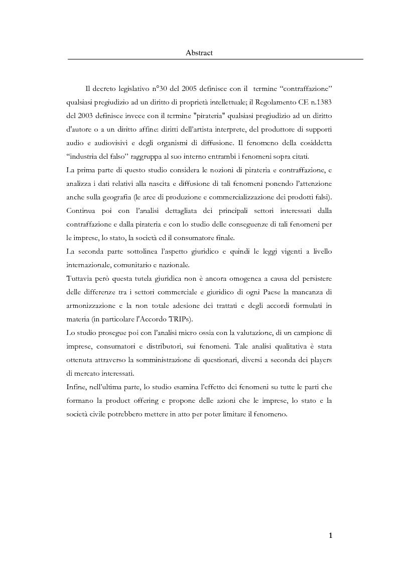 Anteprima della tesi: Marketing, contraffazione e pirateria: stato dell'arte e problemi aperti, Pagina 1