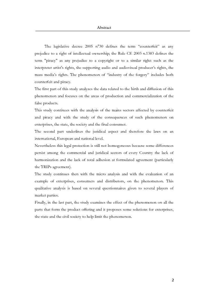 Anteprima della tesi: Marketing, contraffazione e pirateria: stato dell'arte e problemi aperti, Pagina 2