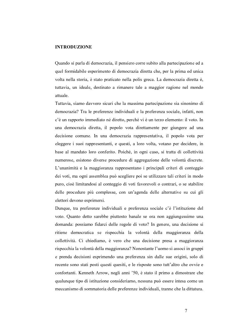 Anteprima della tesi: Teoria del voto ed istituzioni: analisi dei criteri di voto del trattato di Nizza e del trattato di Lisbona, Pagina 1