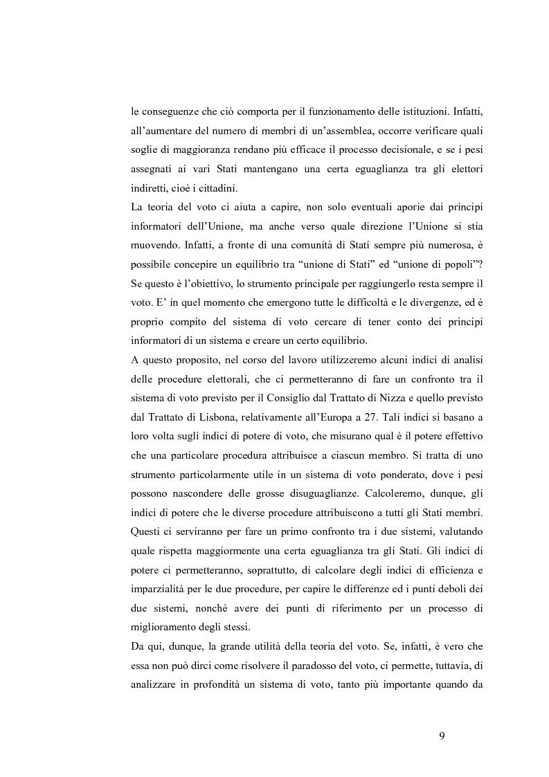Anteprima della tesi: Teoria del voto ed istituzioni: analisi dei criteri di voto del trattato di Nizza e del trattato di Lisbona, Pagina 3