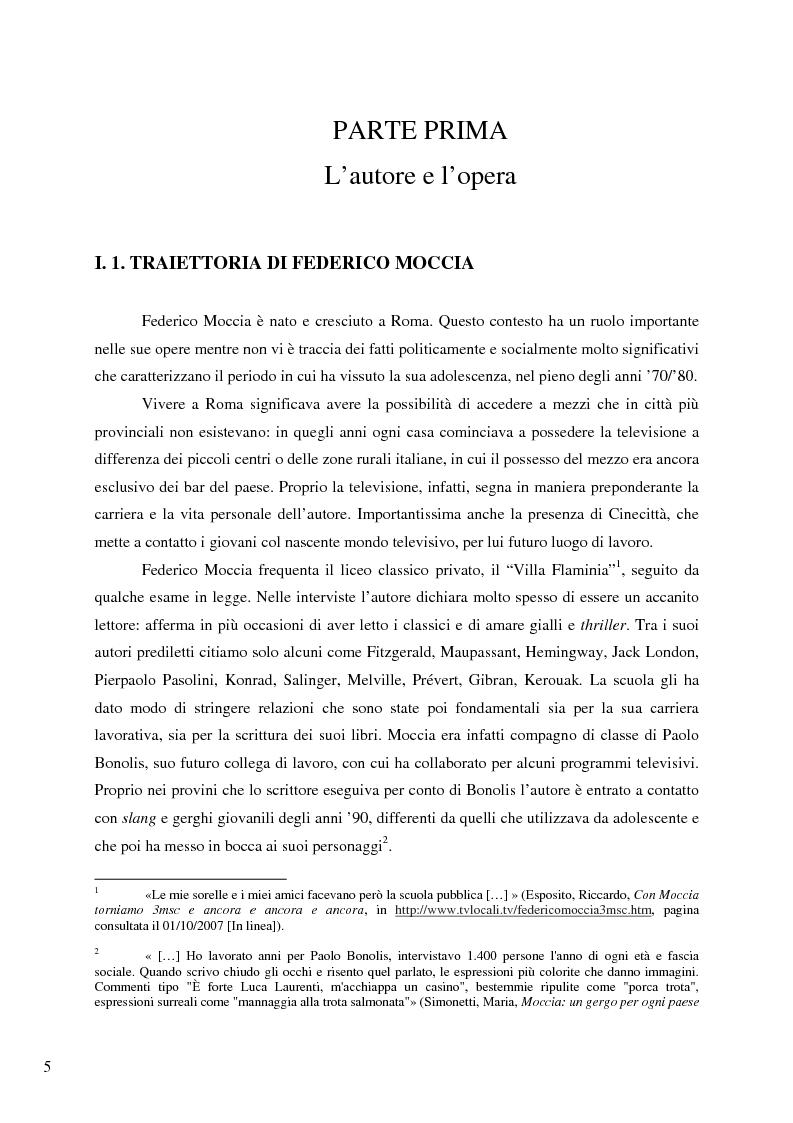 Anteprima della tesi: Il caso Federico Moccia: le ragioni di un successo che stenta a varcare i confini, Pagina 3