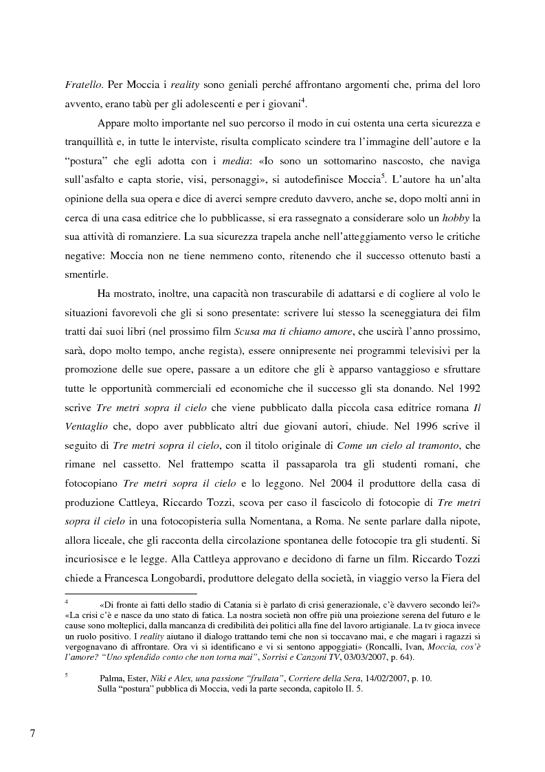 Anteprima della tesi: Il caso Federico Moccia: le ragioni di un successo che stenta a varcare i confini, Pagina 5