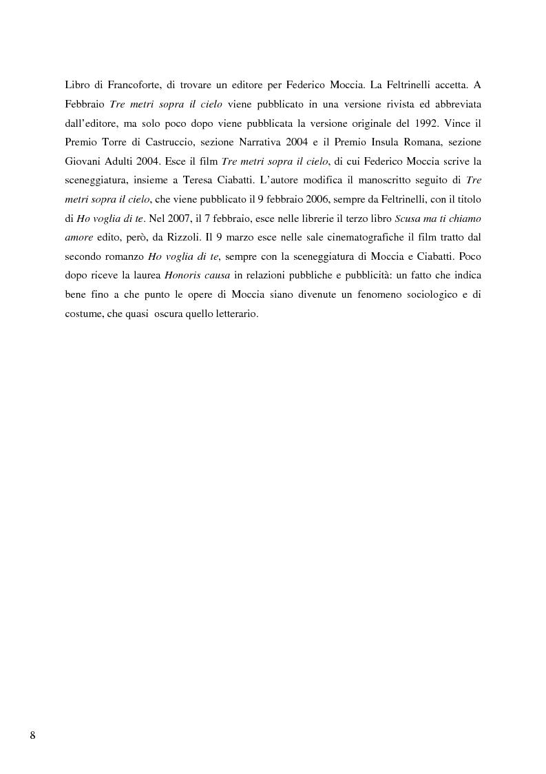 Anteprima della tesi: Il caso Federico Moccia: le ragioni di un successo che stenta a varcare i confini, Pagina 6